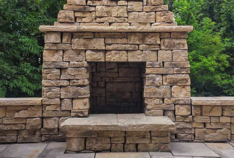 Outdoor fireplaces for Firerock fireplace cost