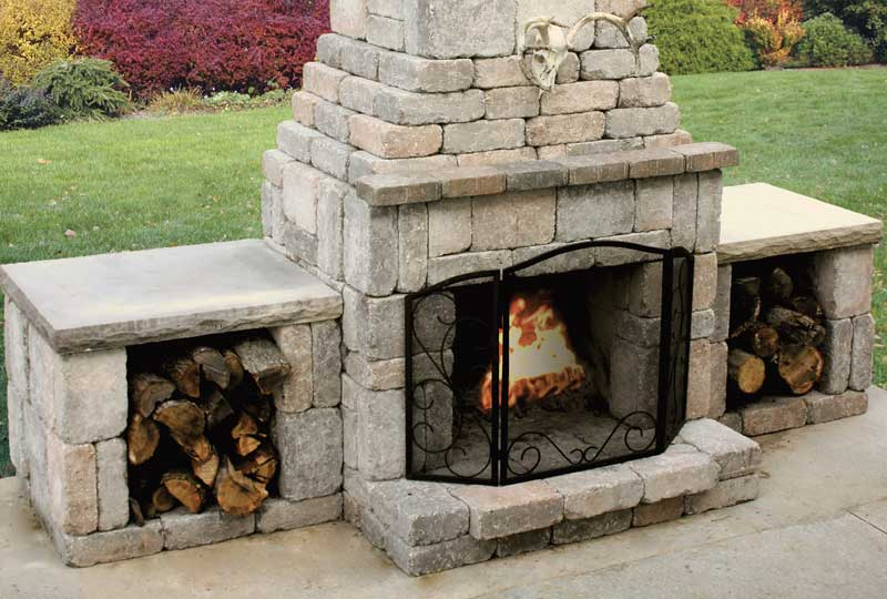 Outdoor fireplace kit compact stone outdoor fireplace kit for Prefabricated outdoor fireplace kits